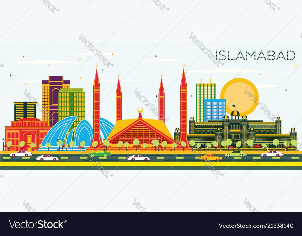 Islamabad pakistan city skyline with color