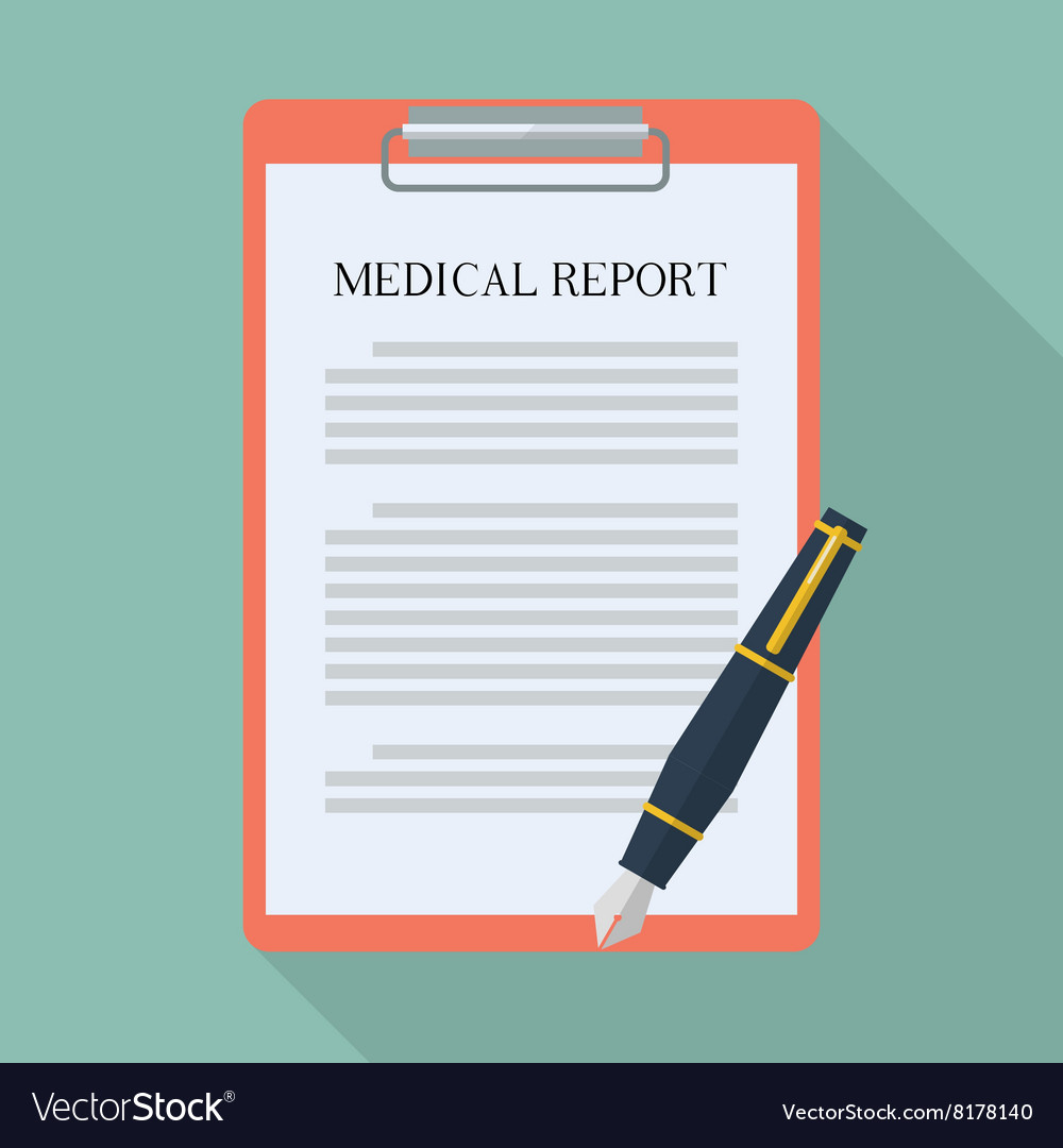 medical report and pen flat icon royalty free vector image