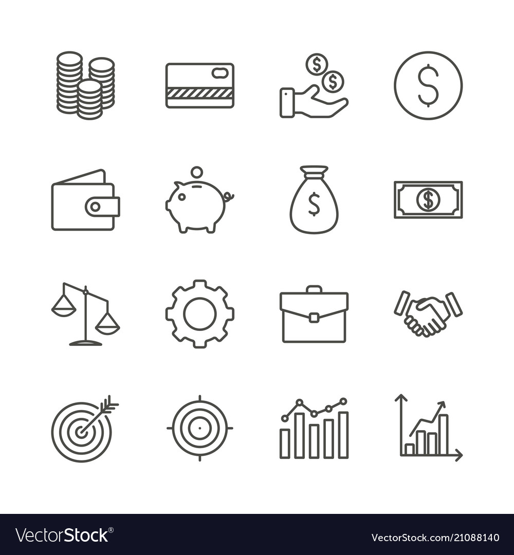 Money set icon outline finance collection