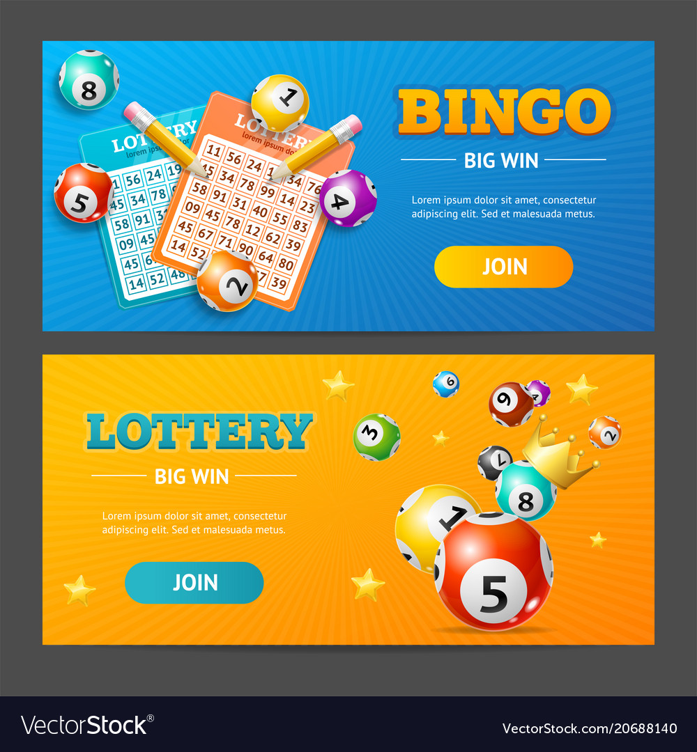 Realistic lotto banner horizontal set vector image