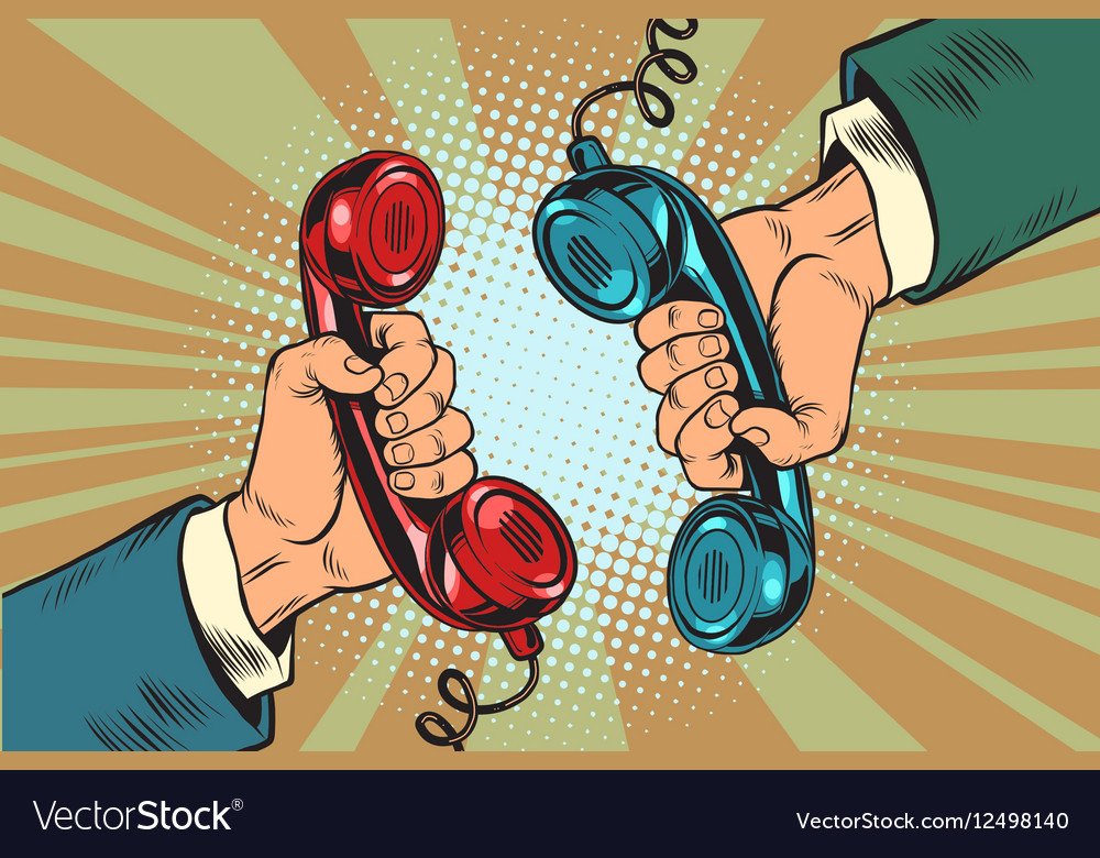 Retro a dialogue on the phone two handsets vector image