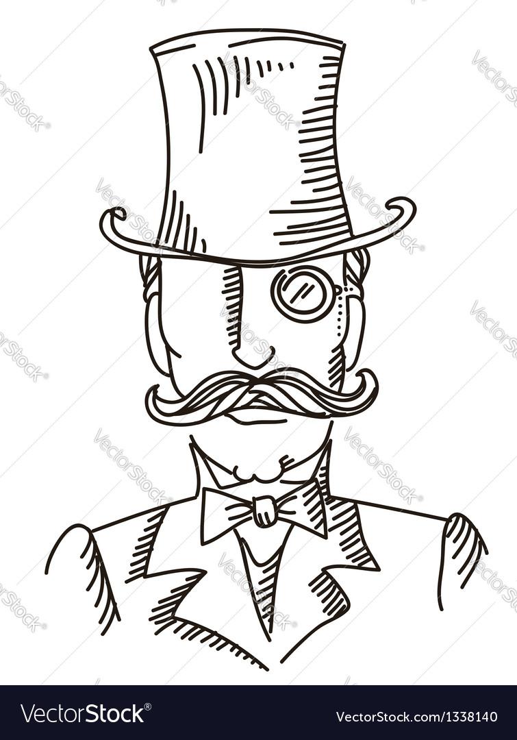 Retro man portrait in a top black hat