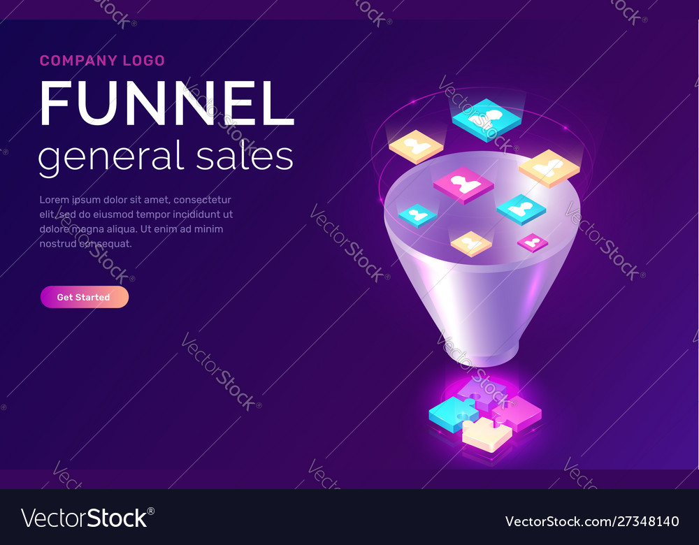 Sales funnel isometric concept