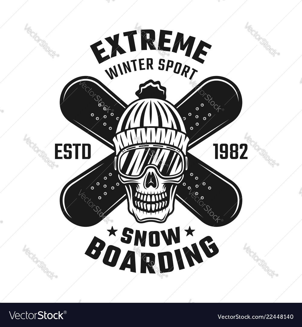 Snowboarding emblem with skull and two boards