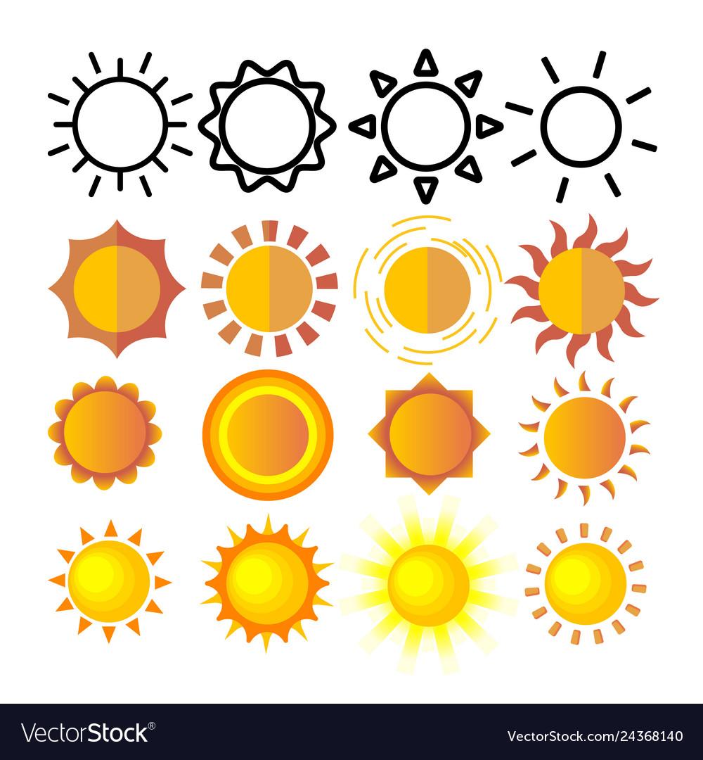 Yellow sun icon set sunset sign sunrise