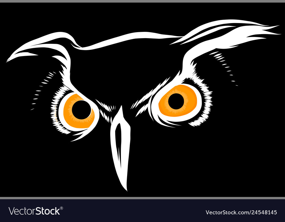 Brown silhouette an owl on a black
