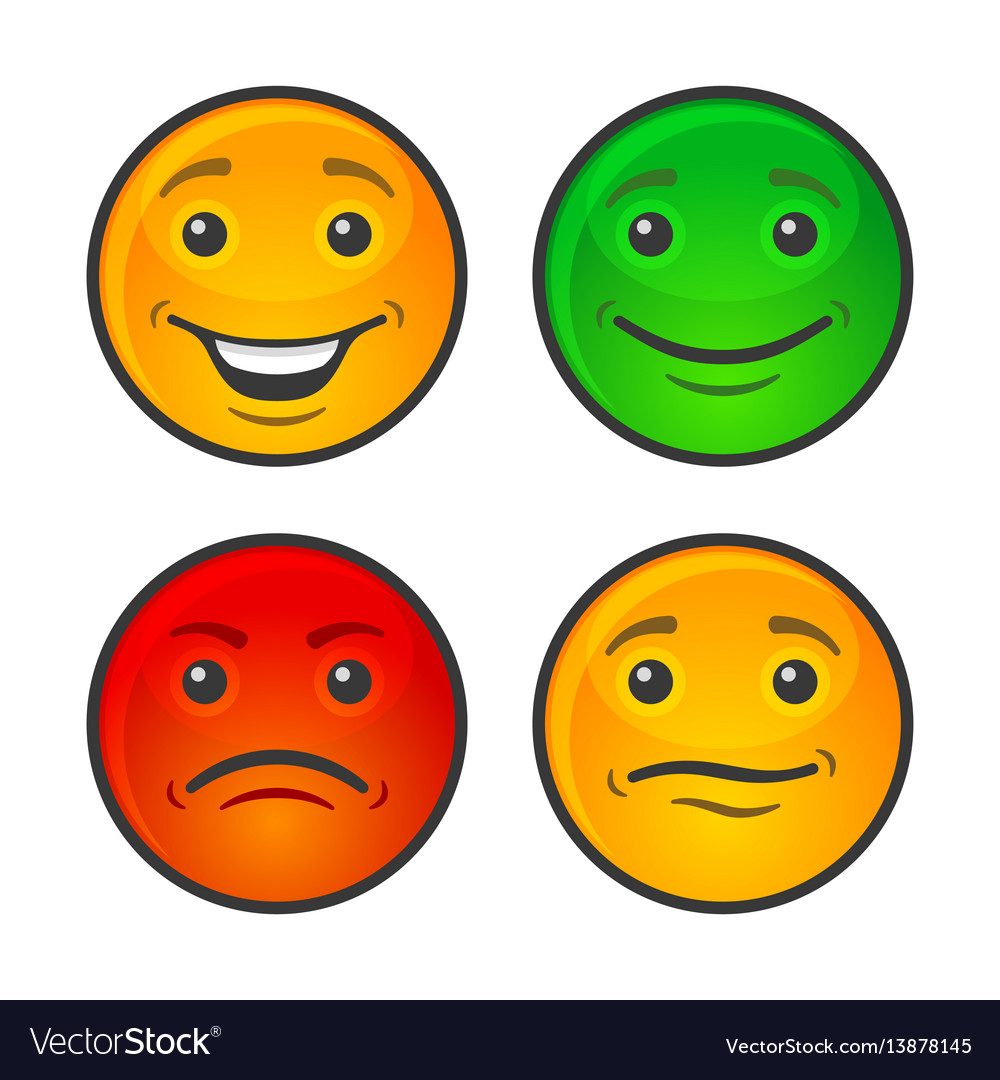 color smiley face icons set royalty free vector image