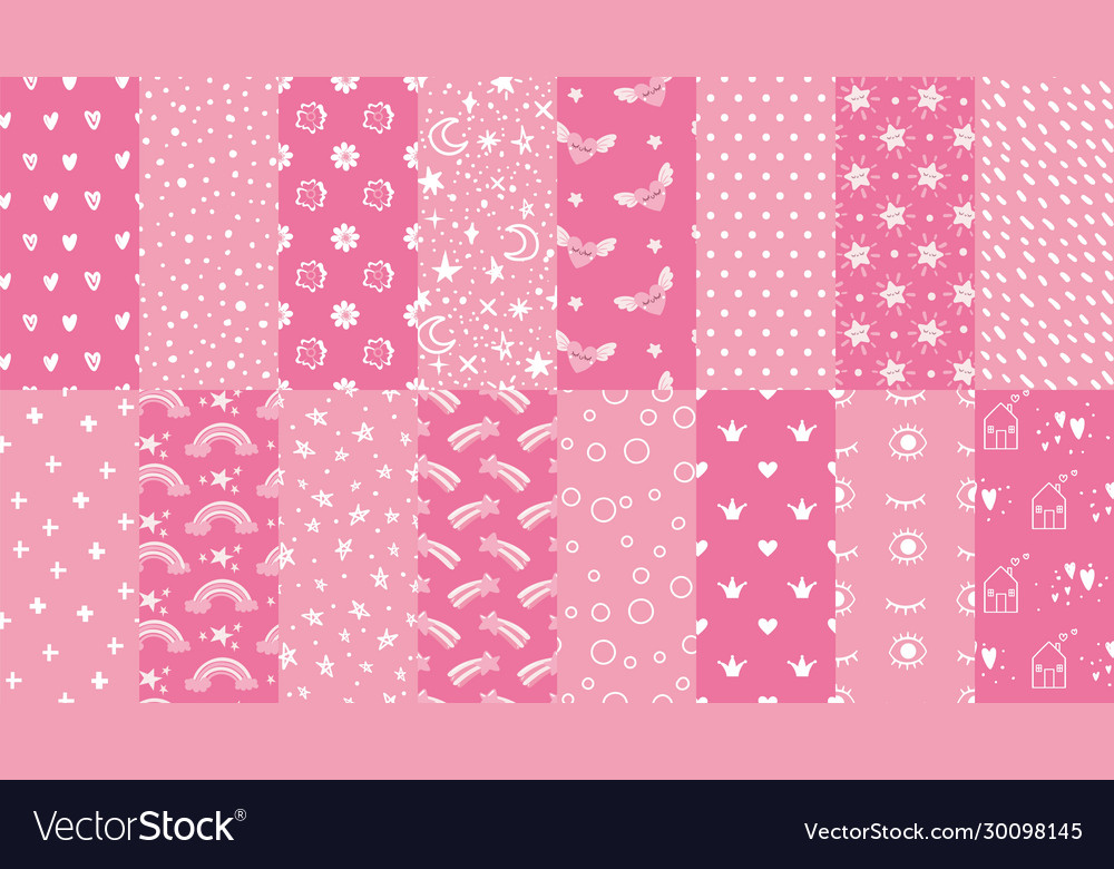 Cute pink seamless patterns hand drawn hearts