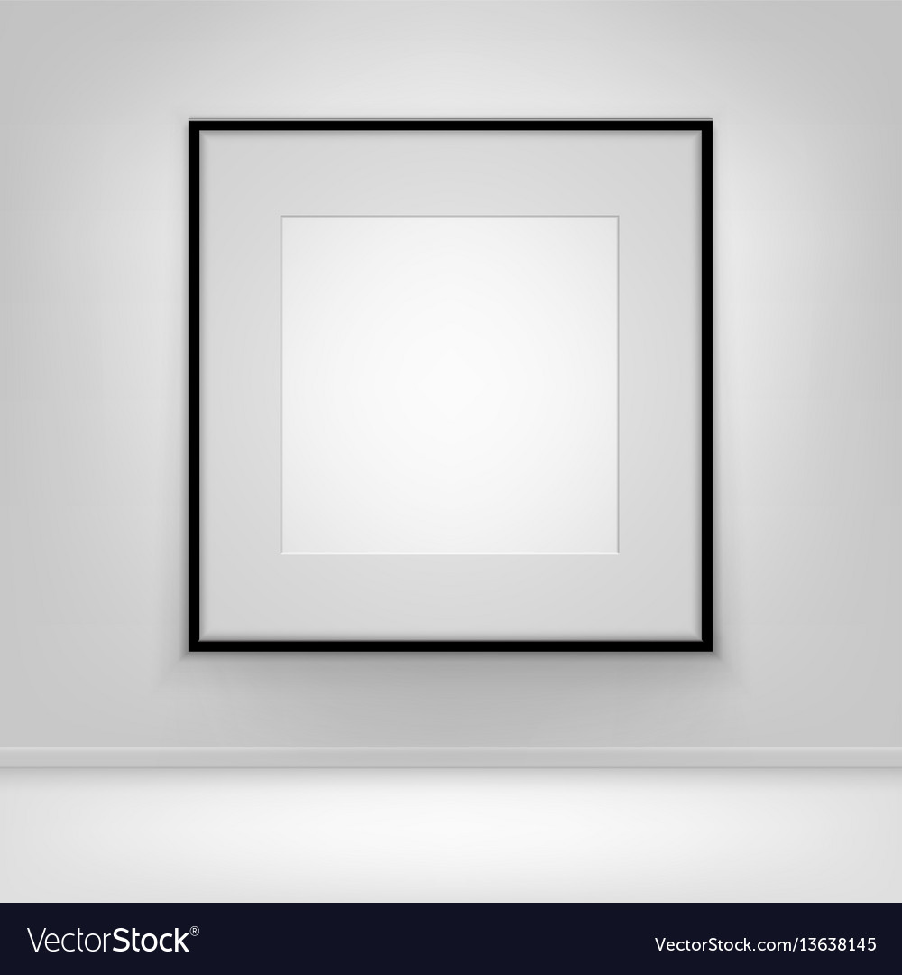 Empty white poster black frame on wall with floor
