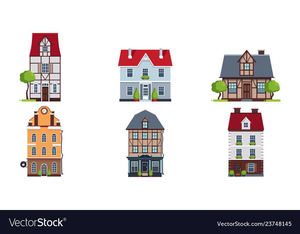 European facades houses set buildings of
