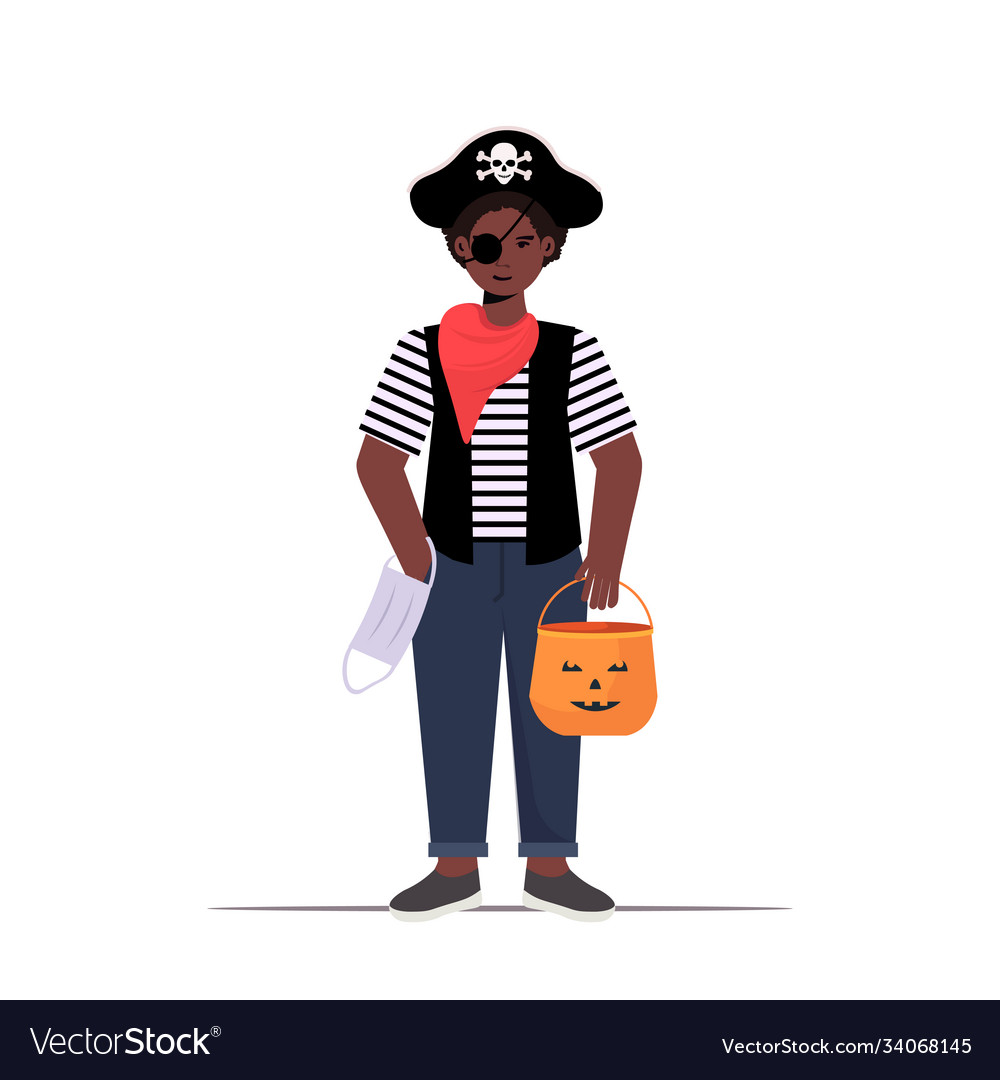 Guy wearing pirate costume holding bucket with vector