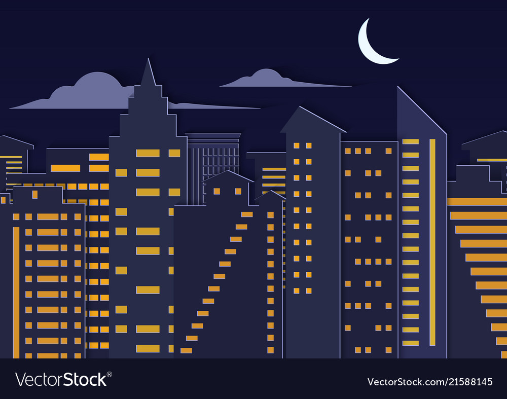 Landscape paper cuted art style night urban city