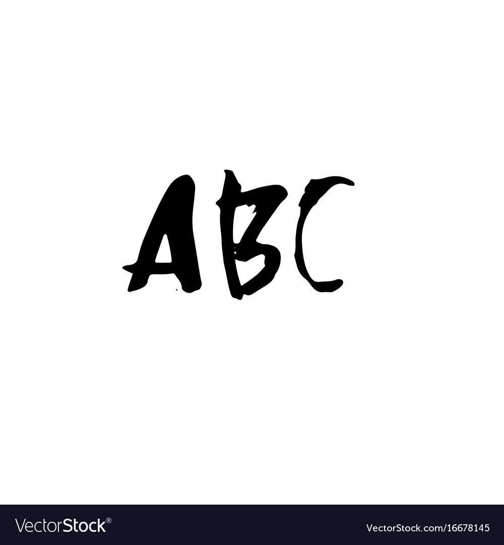Letters abc handwritten by dry brush rough vector image