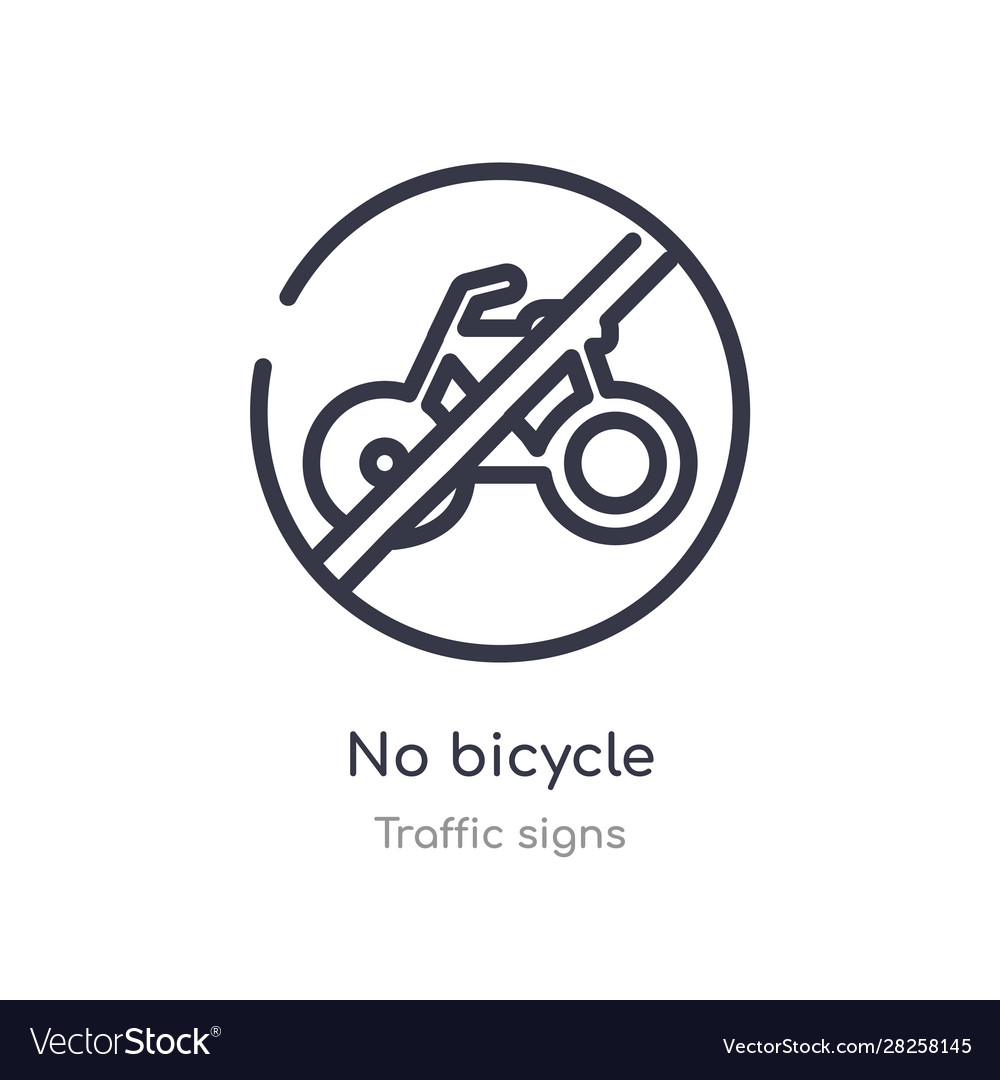 No Bicycle Outline Icon Isolated Line From Vector Image
