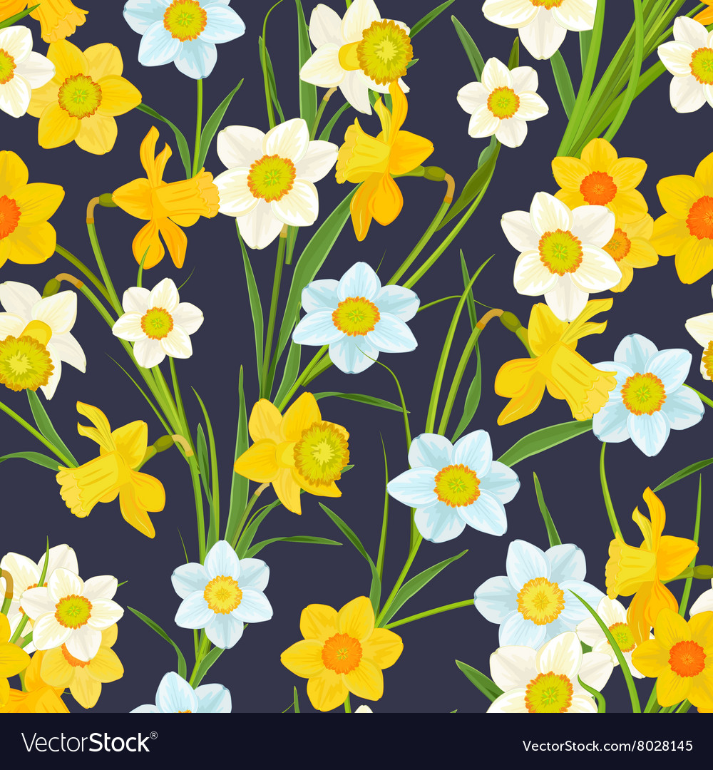 Retro seamless texture with blossom of daffodils
