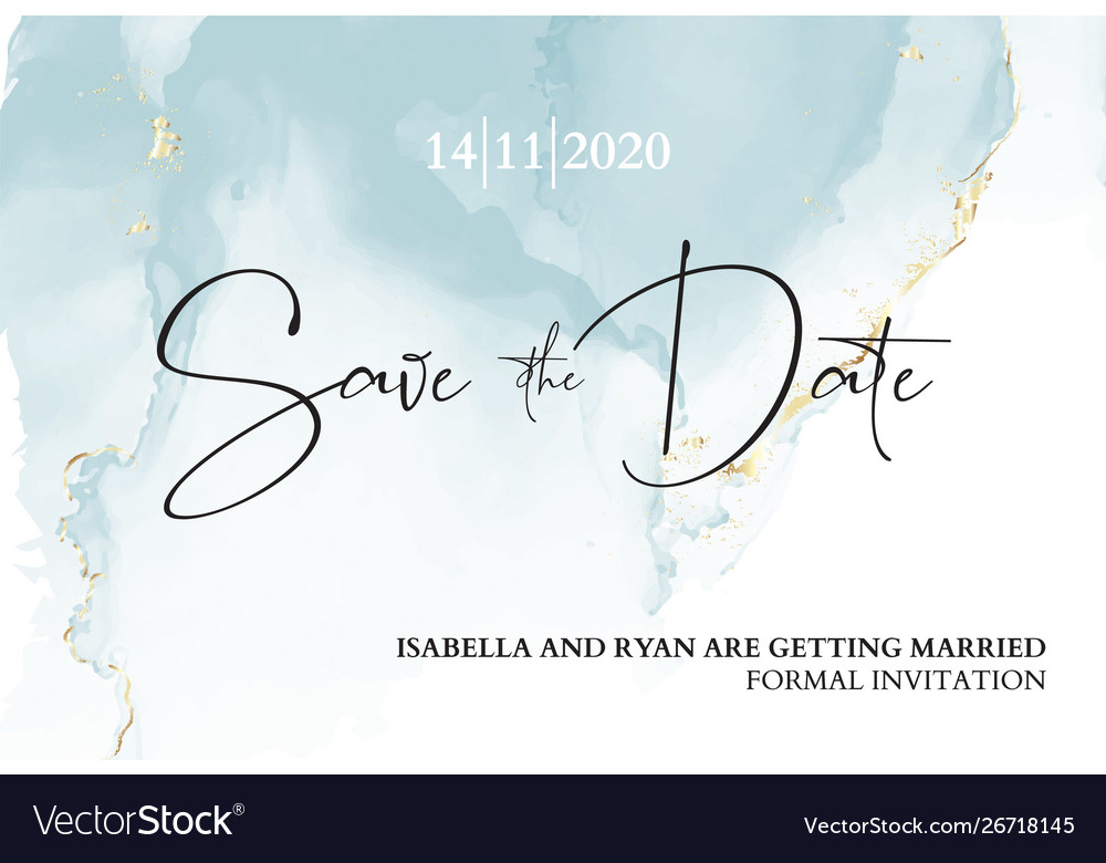 Save date wedding invitation mable blue