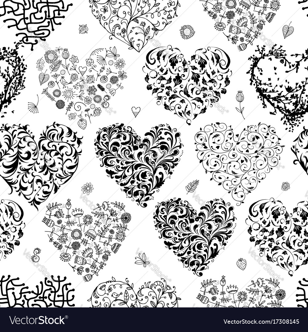 Seamless pattern with valentine hearts for your