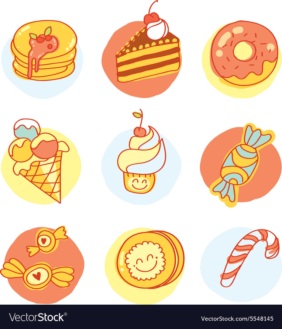 Set of sweets Nine colored delicious images vector image