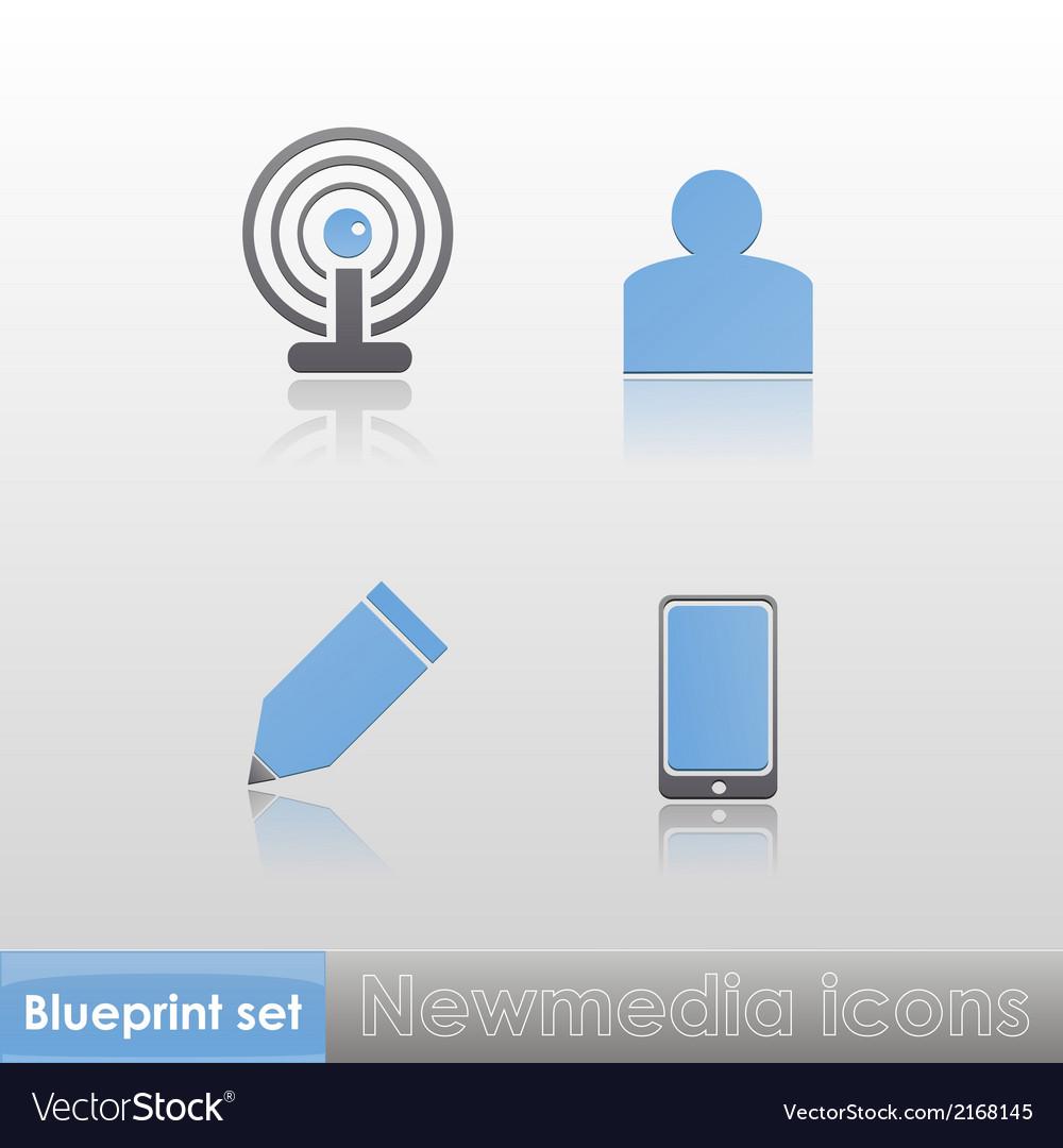 Simple blue-grey new media wi-fi member write vector image