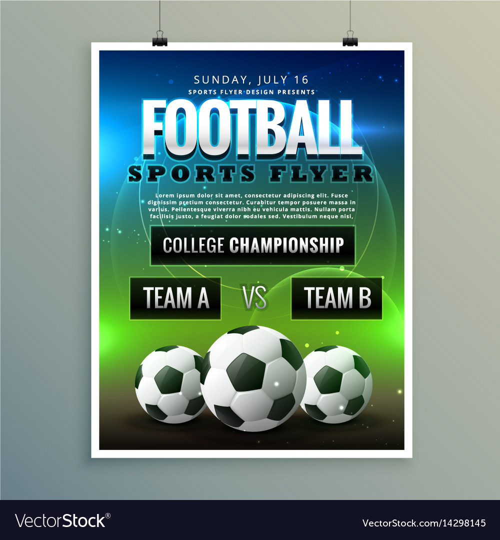 soccer football poster flyer template royalty free vector
