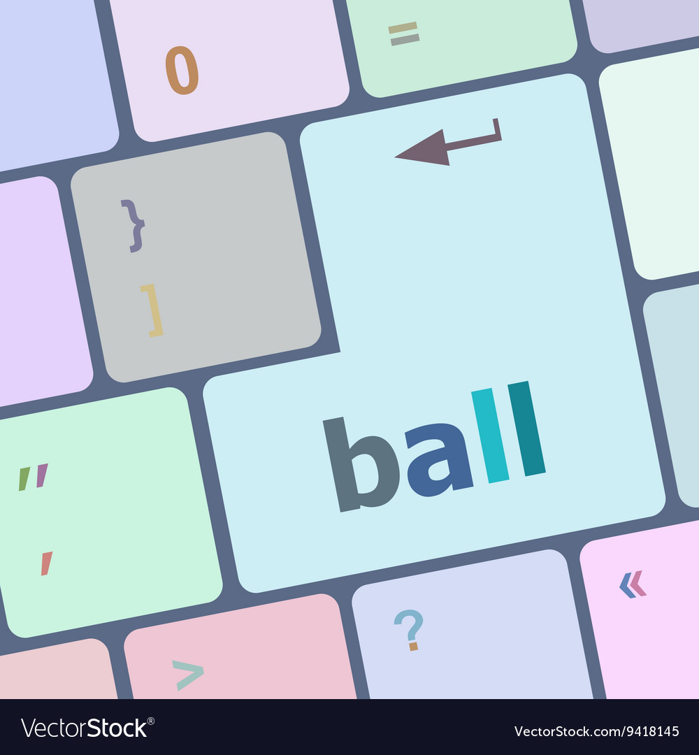Word ball on computer pc keyboard