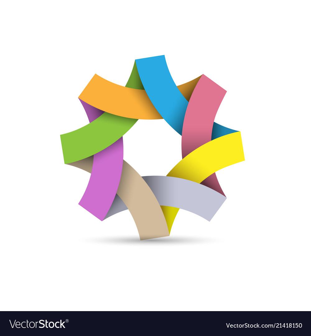 Abstract infinite loop logo paper 3d origami