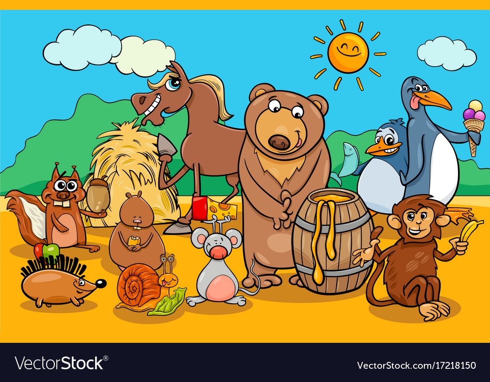 animals and food cartoon group royalty free vector image