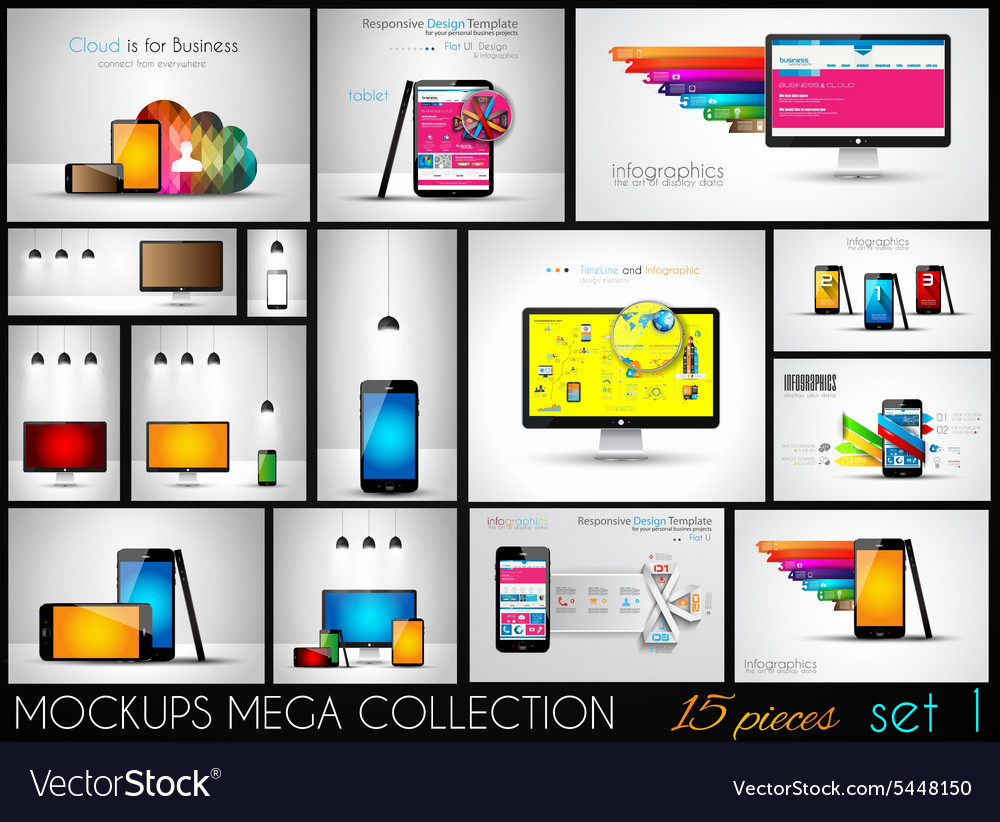 Collection of phone pc and tablet mockups with