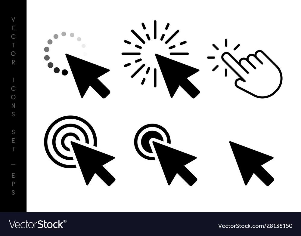 Computer mouse click cursor black arrow icons set