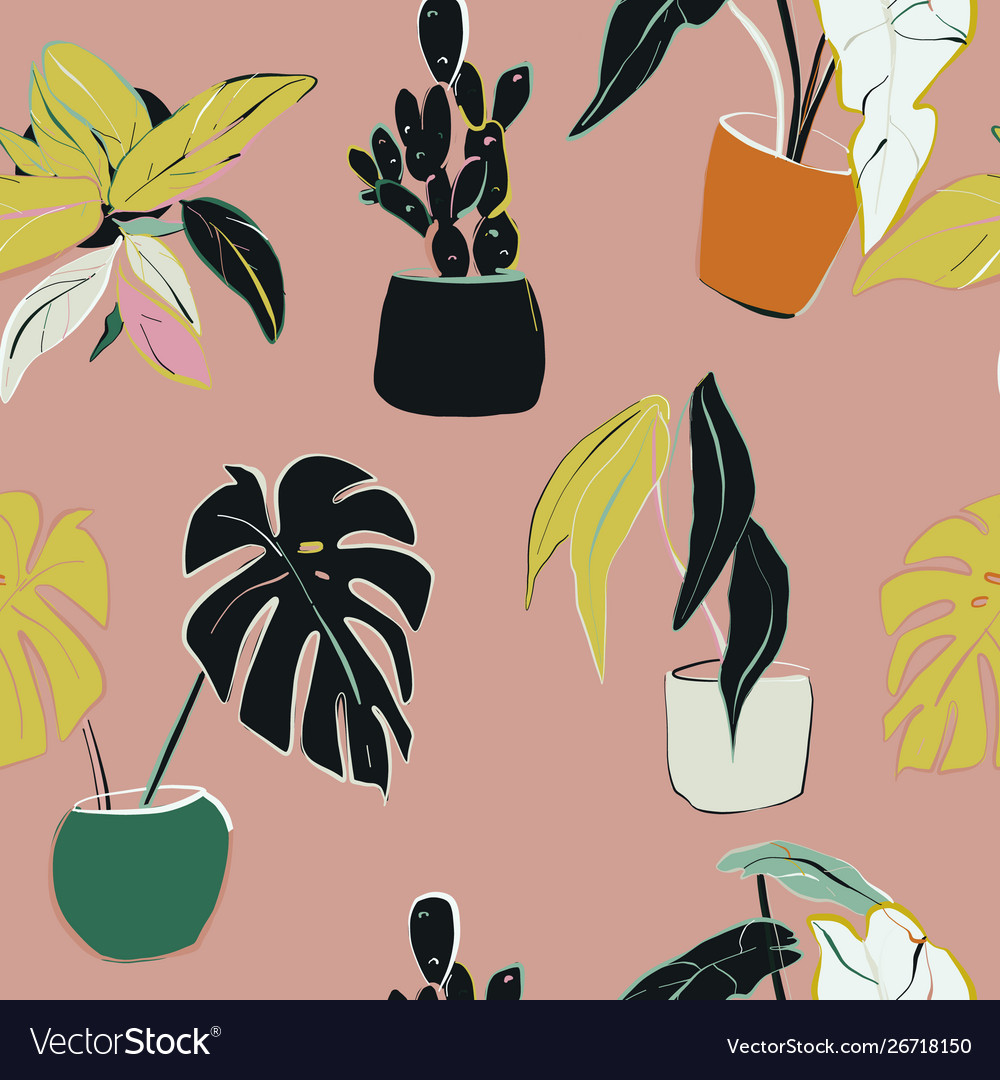 House plants decoration home floral pattern hand