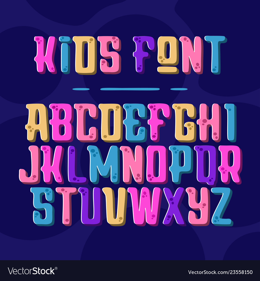 Kids font alphabet with latin letters