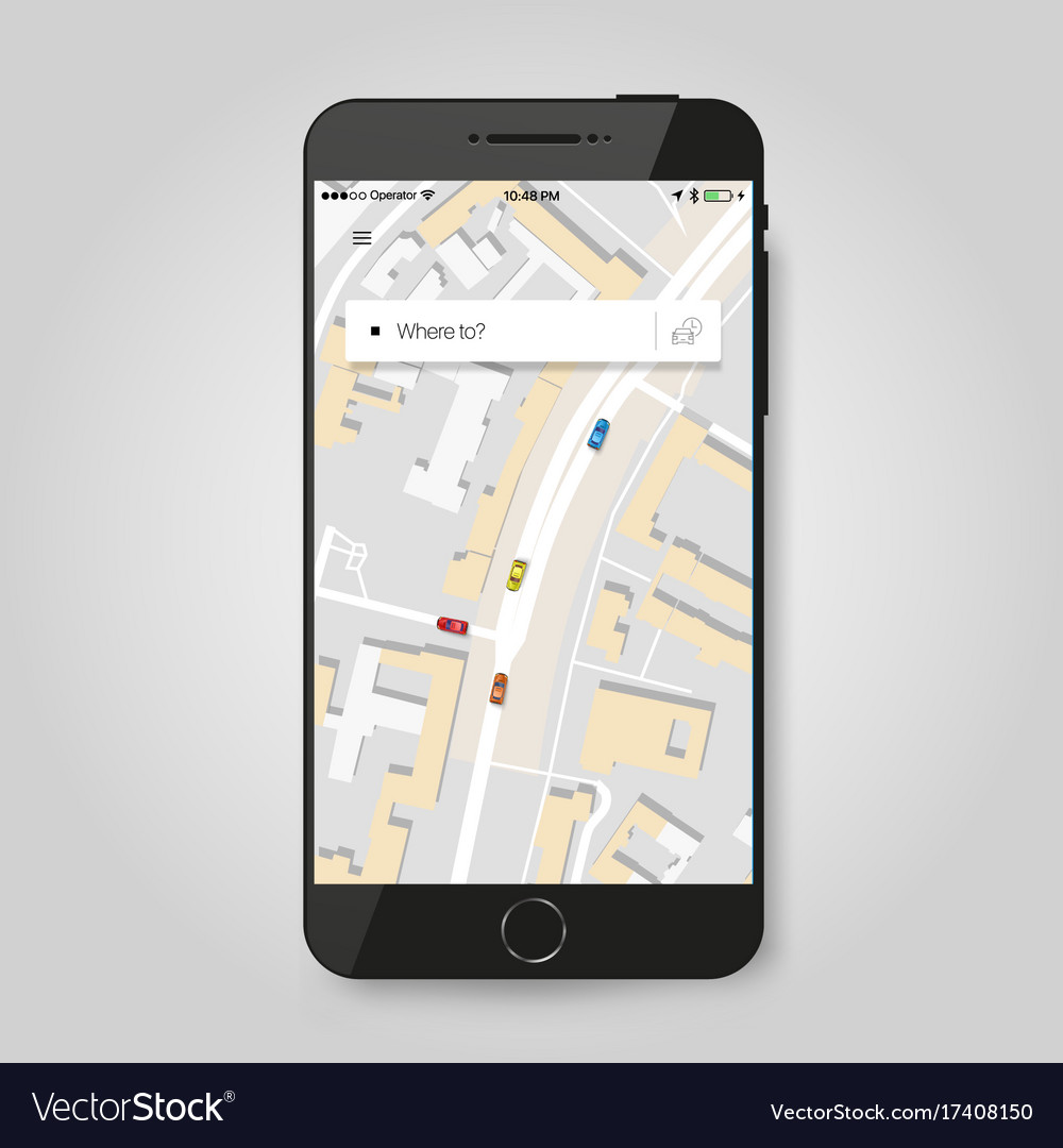 Mobile gps navigation concept smartphone with vector image