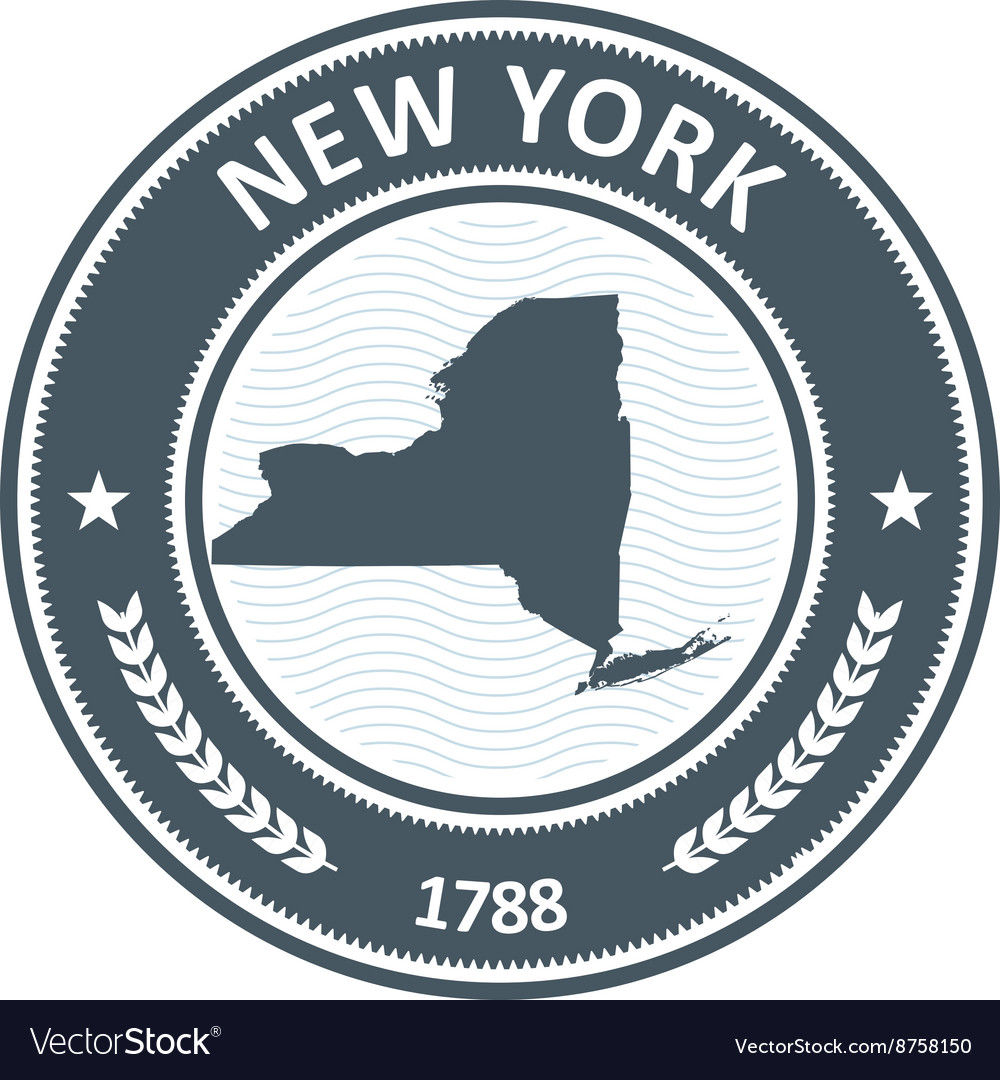 New York stamp with state map silhouette
