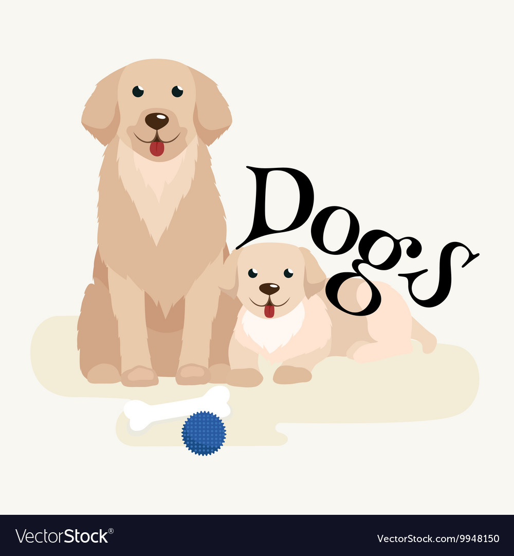 Small puppy and dog on pets background domestic