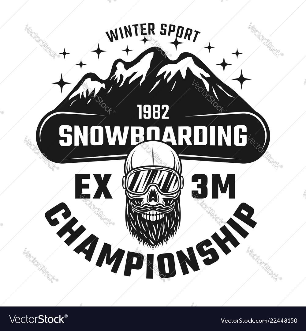 Snowboarding championship emblem