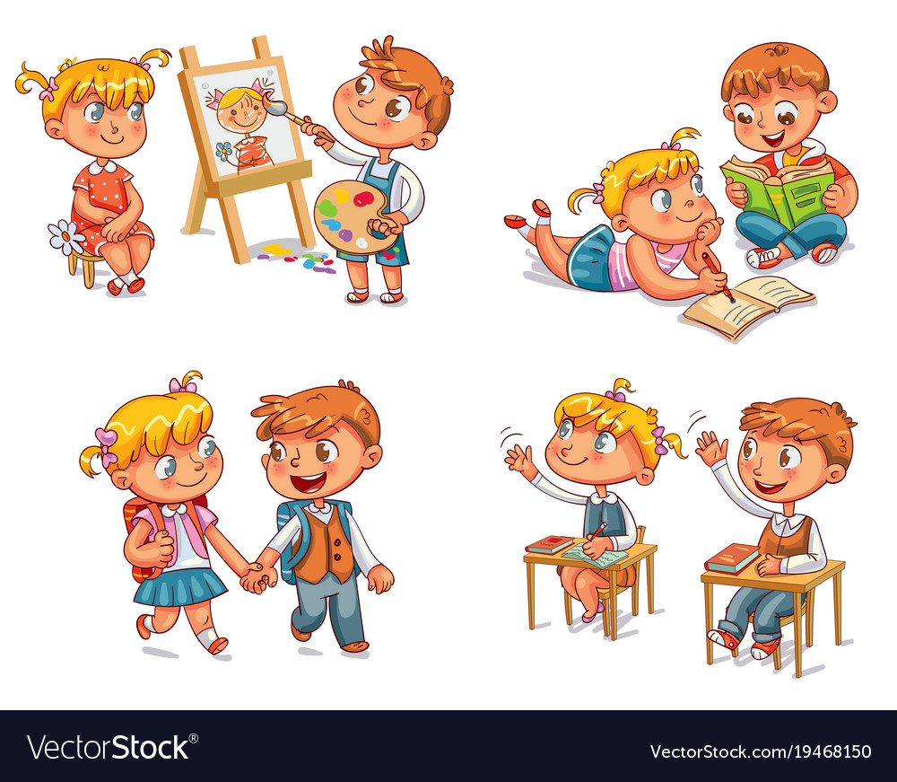Students put hand up in class room vector image