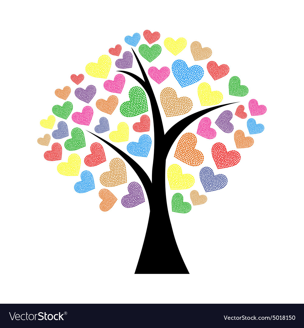 Tree with hearts vector image