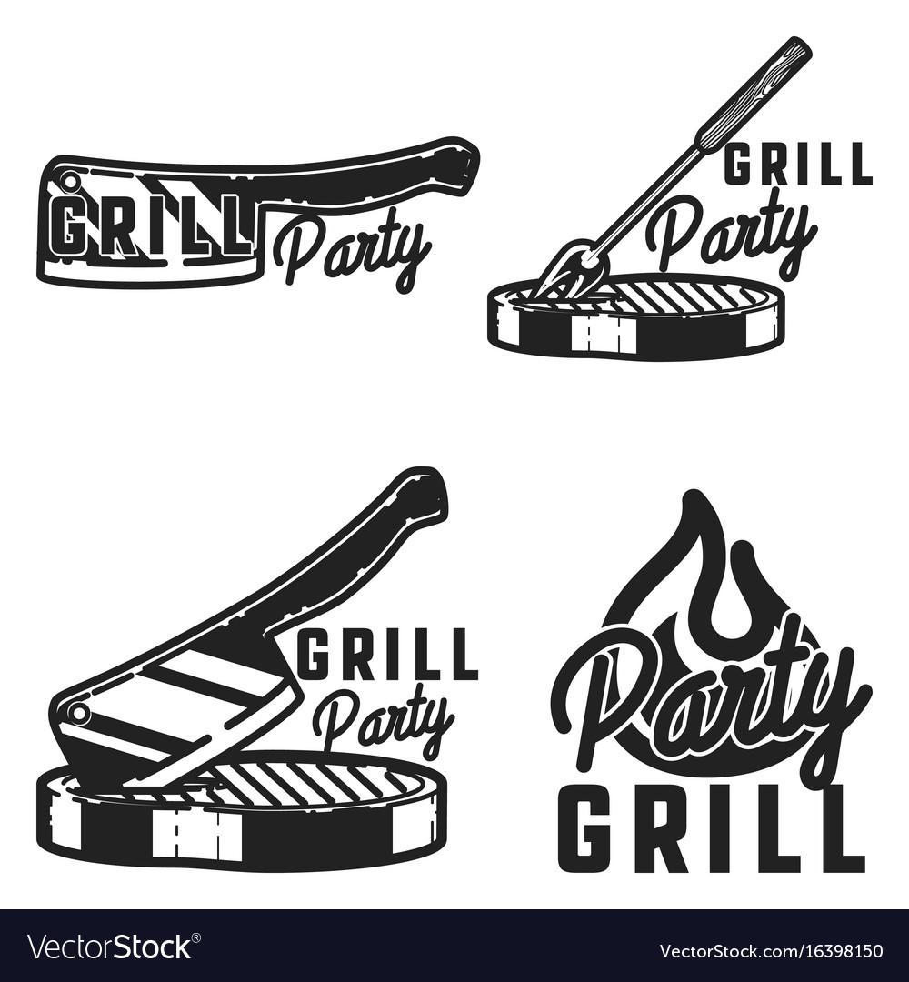 Vintage grill party emblems
