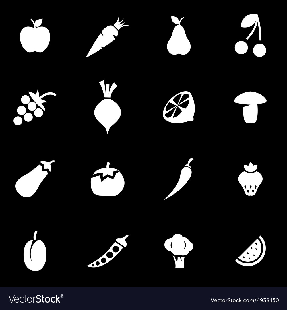 White fruit and vegetables icon set