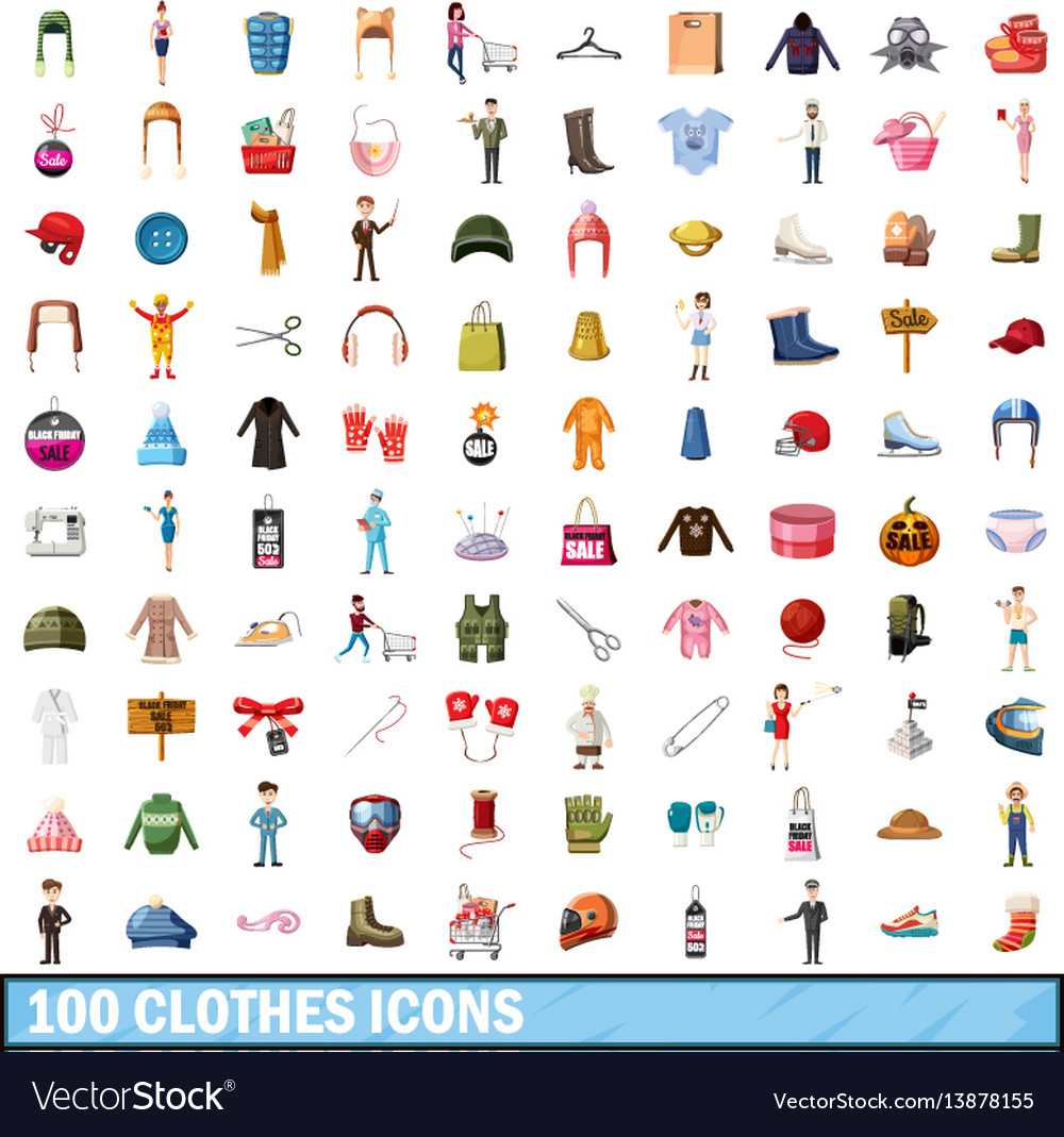 100 clothes icons set cartoon style