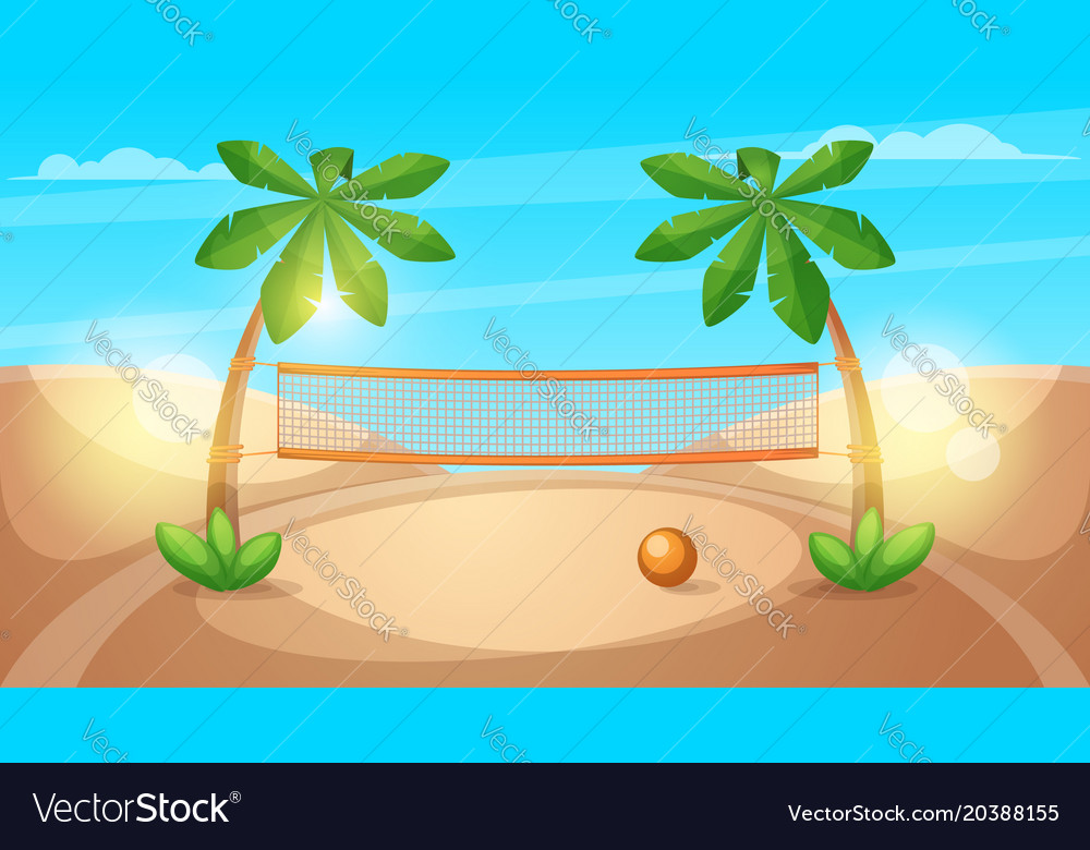 Beach volleyball cartoon landscape