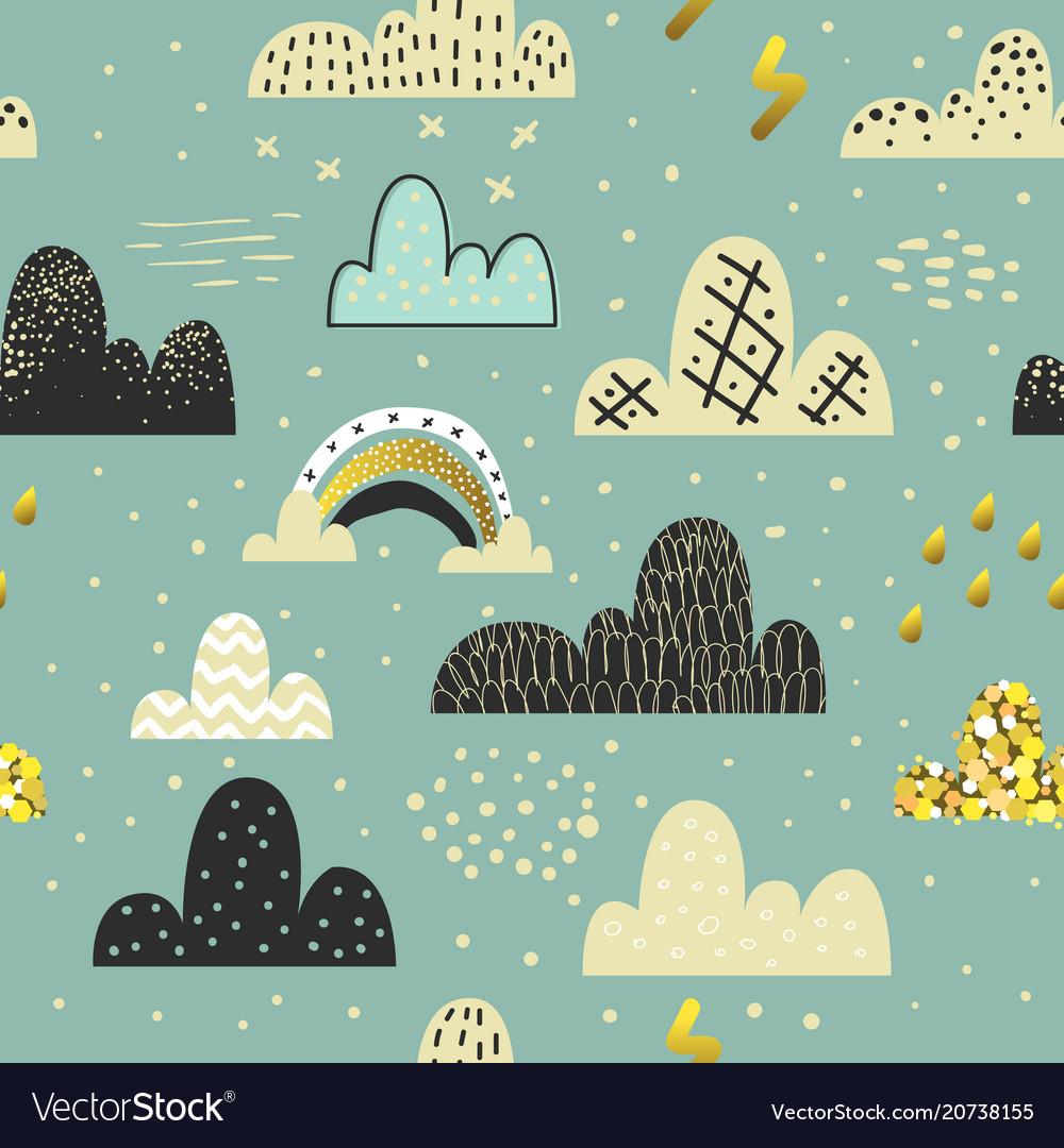 Clouds sky seamless pattern childish background