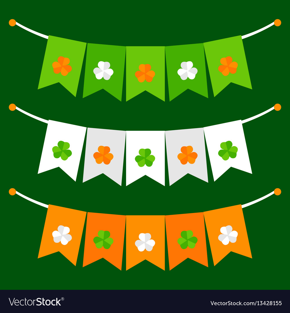 Colorful festive bunting with clover on green