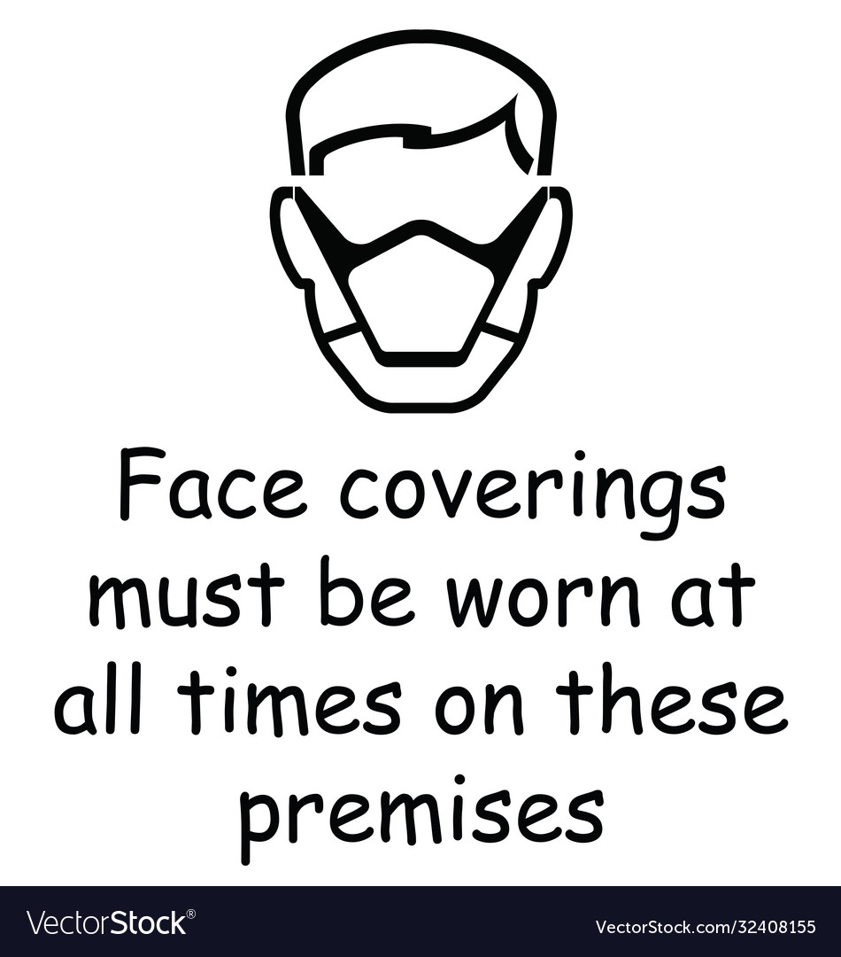 Face coverings to be worn sign