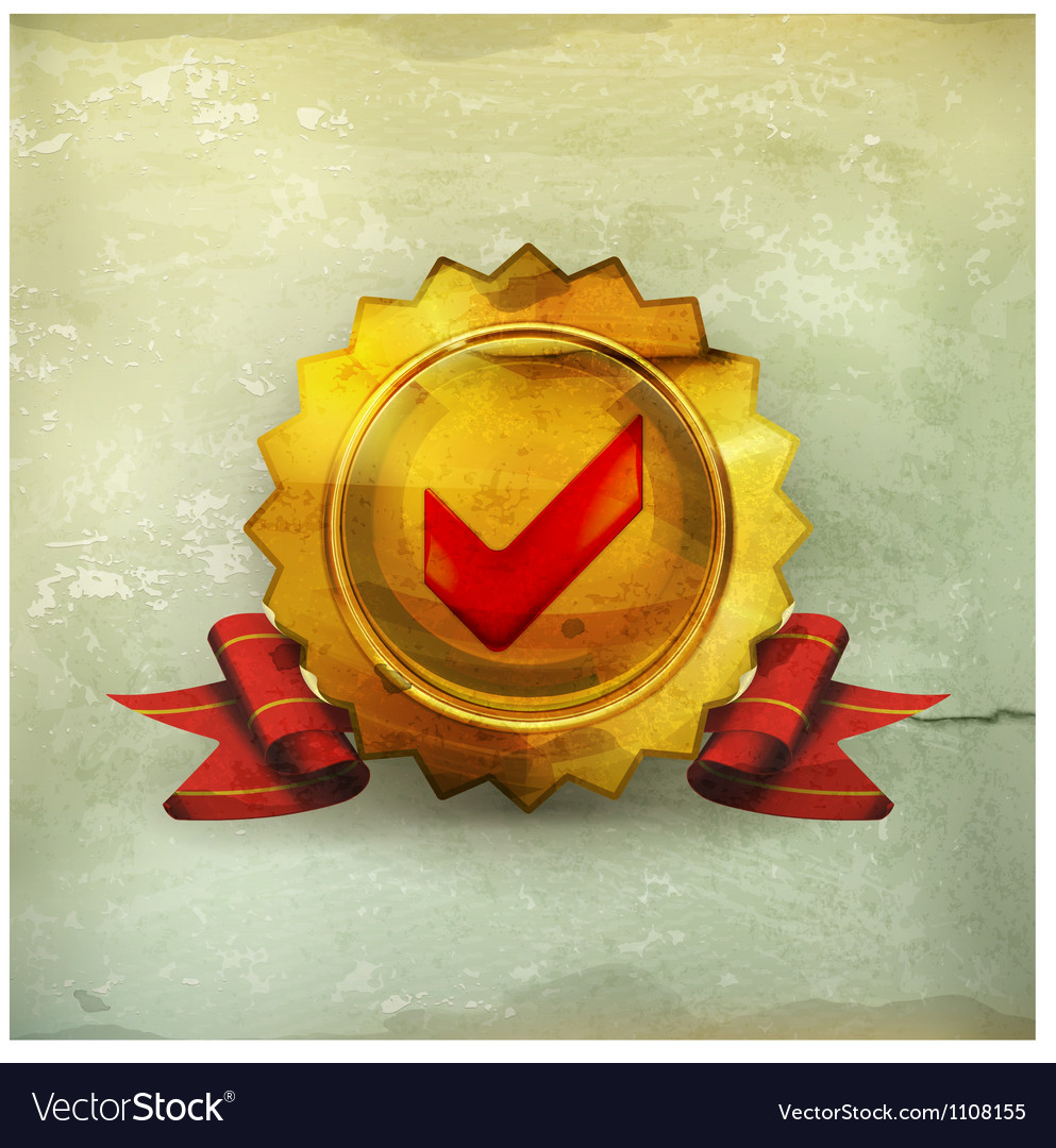 Golden emblem with check mark old-style vector image