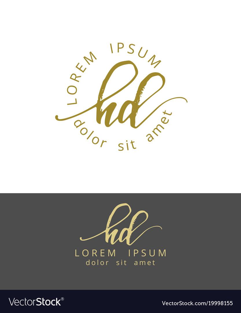 H d handdrawn brush monogram calligraphy logo vector image