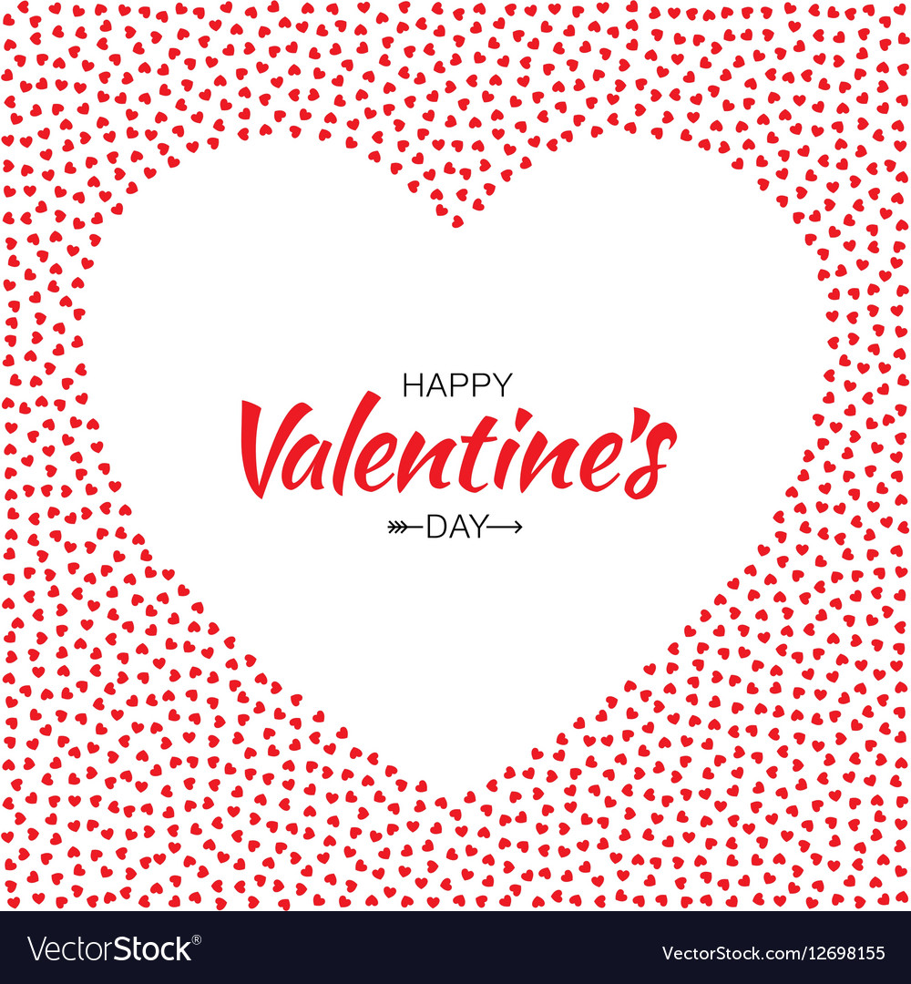 hearts frame background for valentines day card vector image