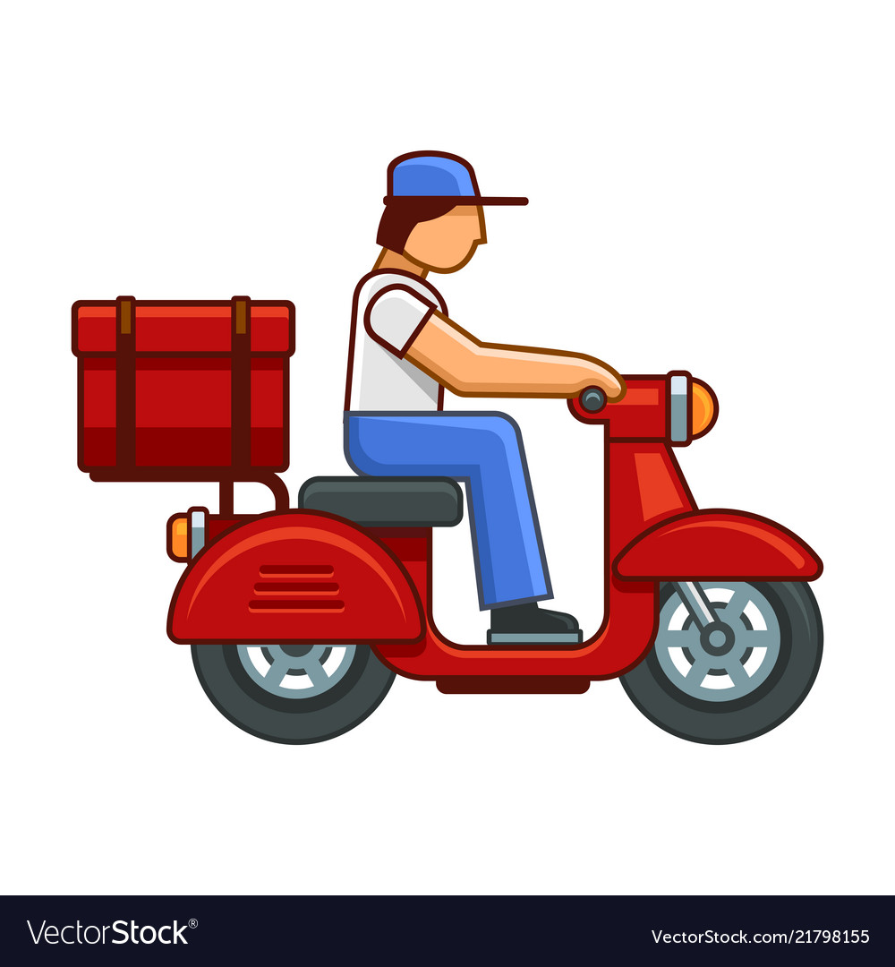 Men on bike deliver package icon
