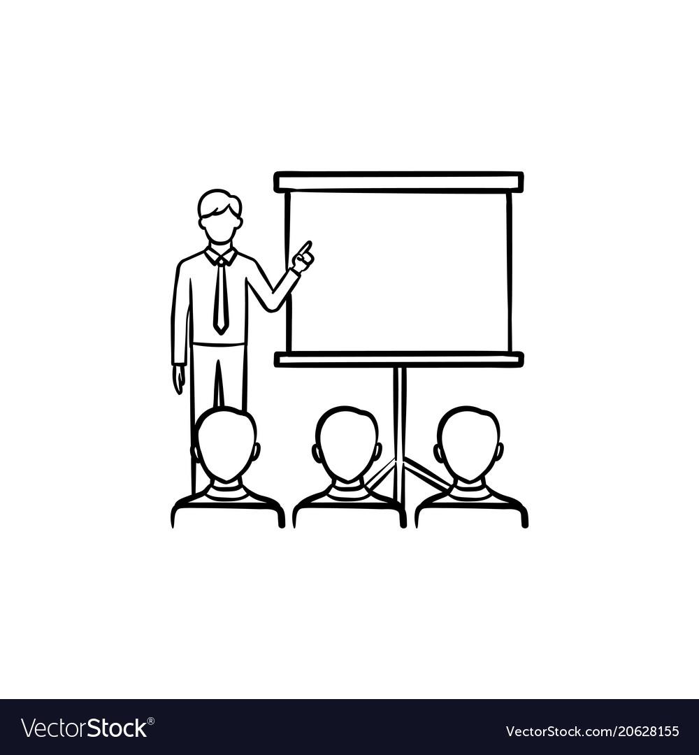 Presentation training hand drawn sketch icon