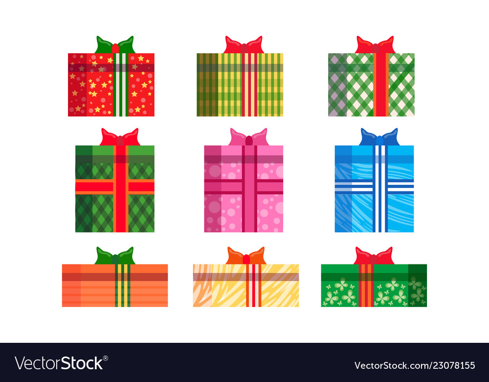 Set different colorful gift boxes wrapped ribbon